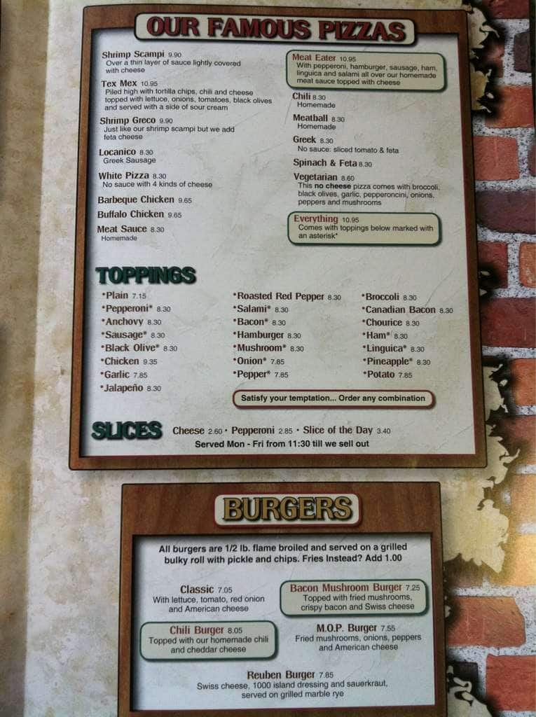 cape cod pizza menu