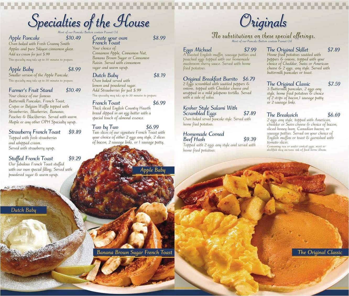 The Original Pancake House, Weston/Southwest Ranches Menu