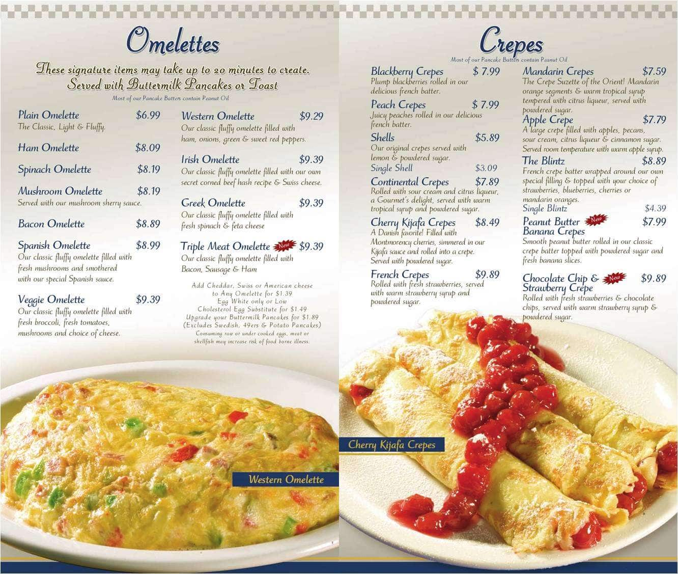 Scanned Menu For The Original Pancake House