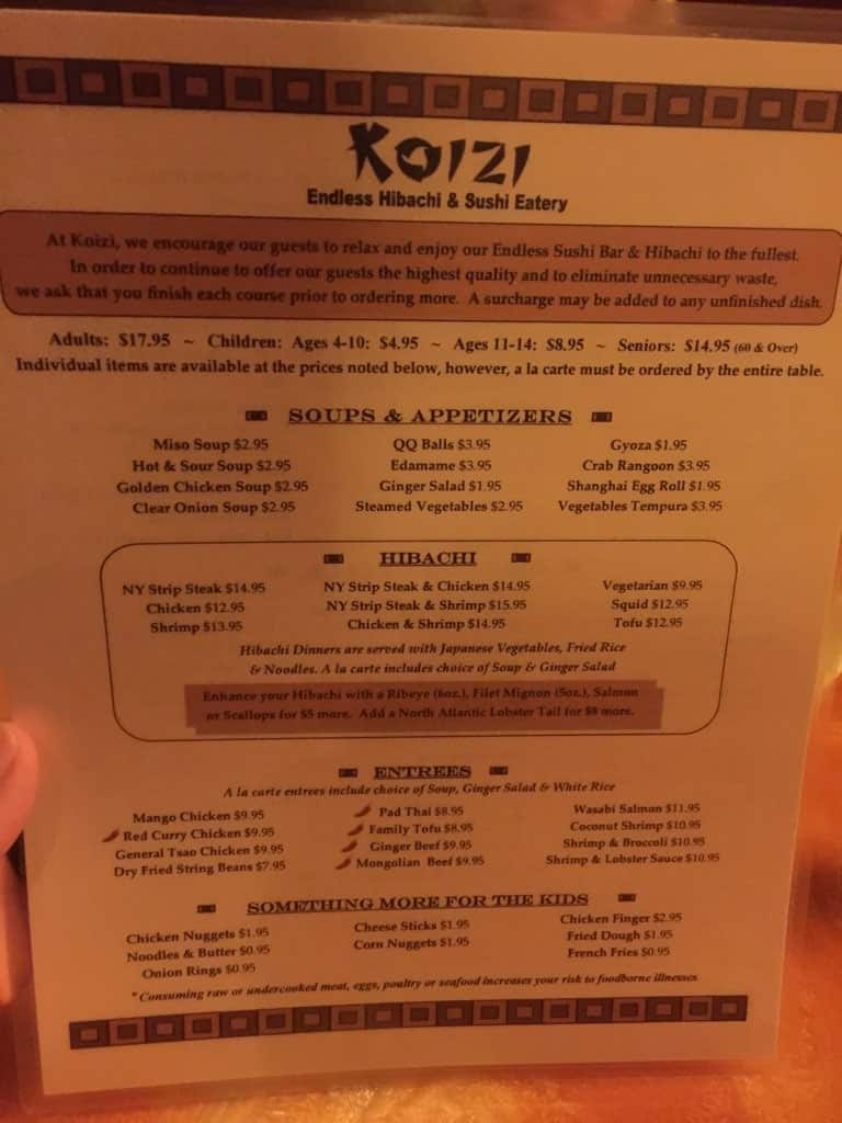 Koizi Endless Hibachi and Sushi Eatery Menu - Urbanspoon/Zomato
