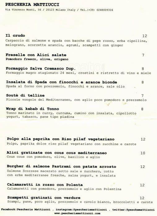 Pescheria Mattiucci a Milano: Foto del Menu con Prezzi - Zomato Italia