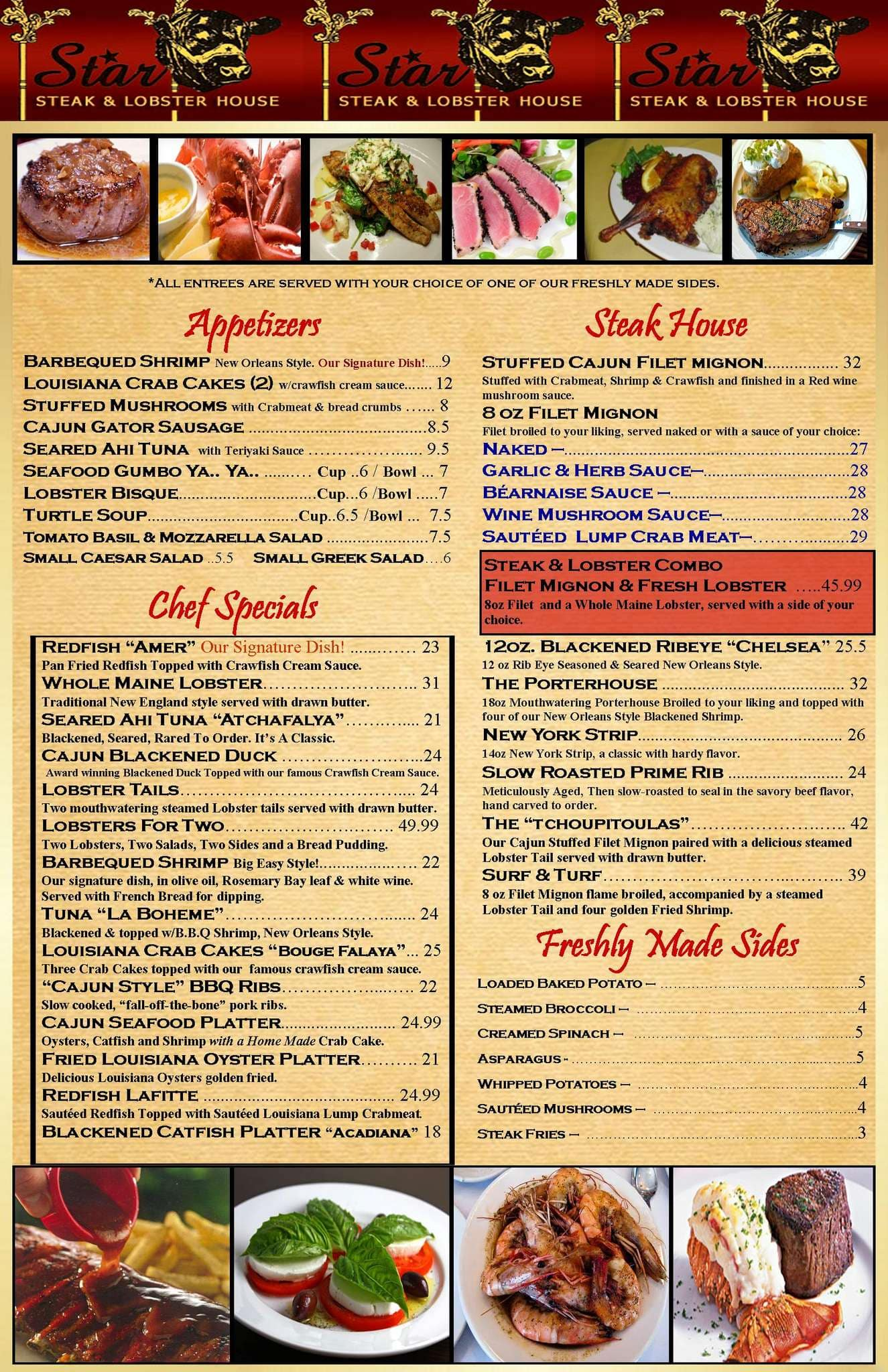 Estrella Steak And Lobster House, French Quarter Menu