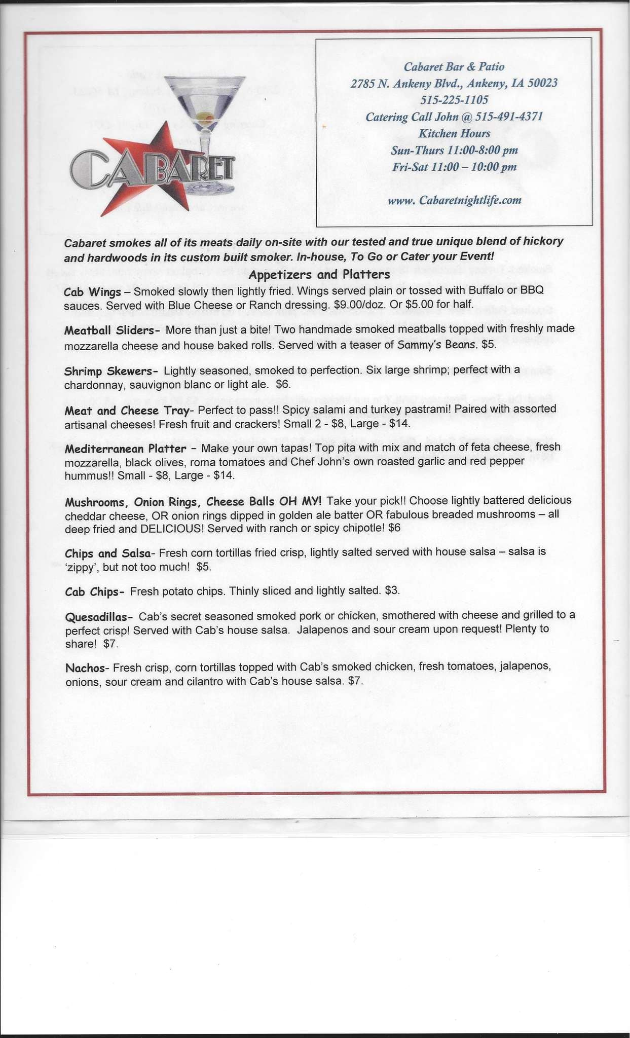 Cabaret Bar & Patio Menu Menu for Cabaret Bar & Patio Ankeny
