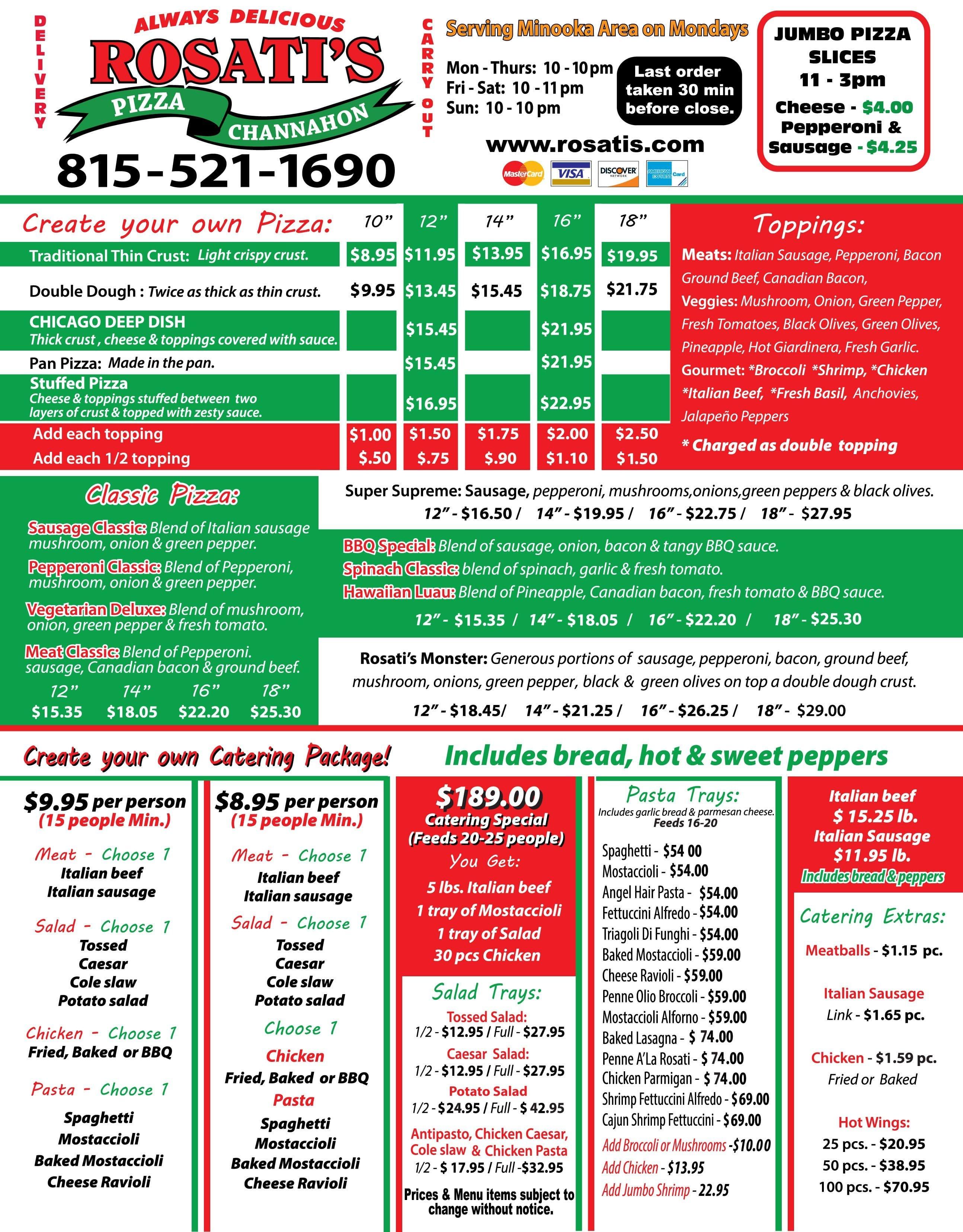 Menu At Rosatis Pizza Pizzeria Channahon W Eames St