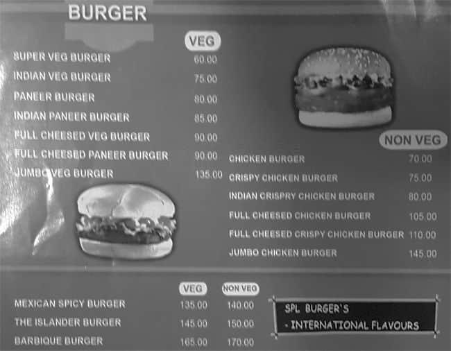 The Burger Bay Menu Menu For The Burger Bay Selaiyur