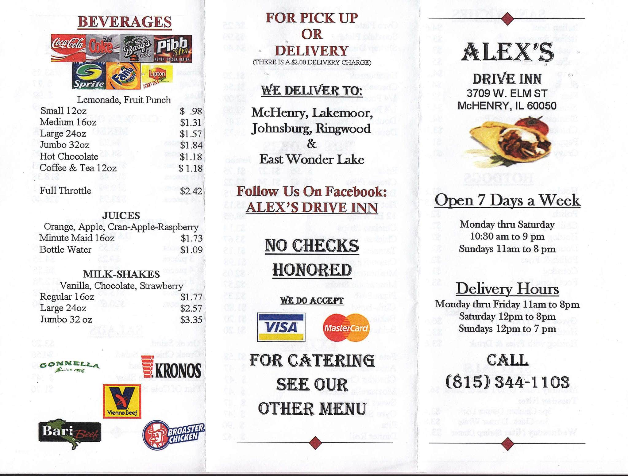 Alex S Restaurant Menu