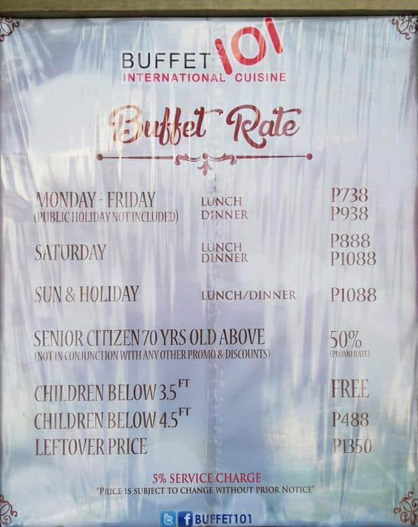 Stupendous Buffet 101 Menu Menu For Buffet 101 Mall Of Asia Complex Home Interior And Landscaping Oversignezvosmurscom