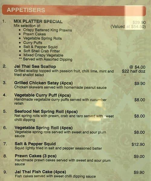 jai thai kitchen menu menu for jai thai kitchen. Black Bedroom Furniture Sets. Home Design Ideas