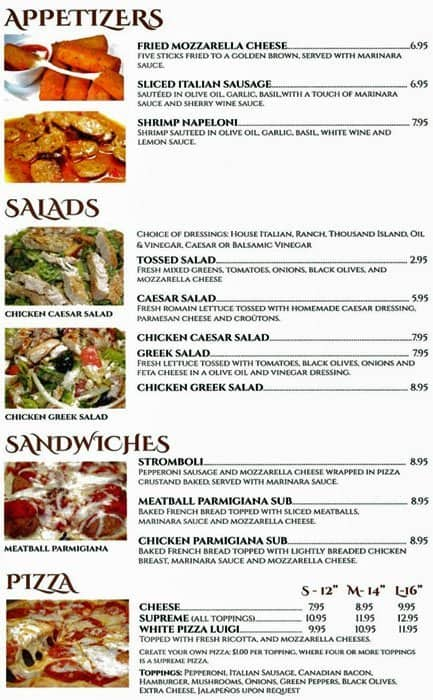 luigi s italian restaurant menu urbanspoon zomato