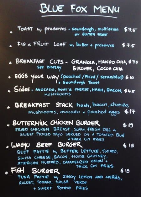 Blue Fox Cafe Kew Menu