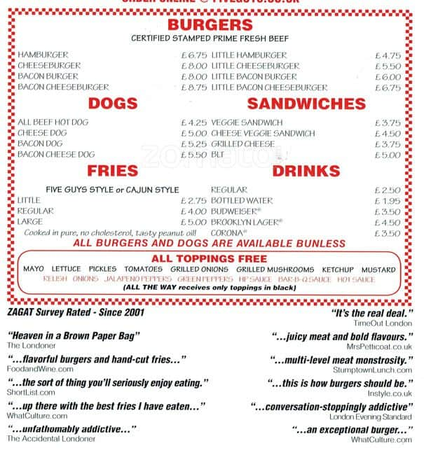 Five Guys Menu, Menu for Five Guys, Shawlands, Glasgow ...