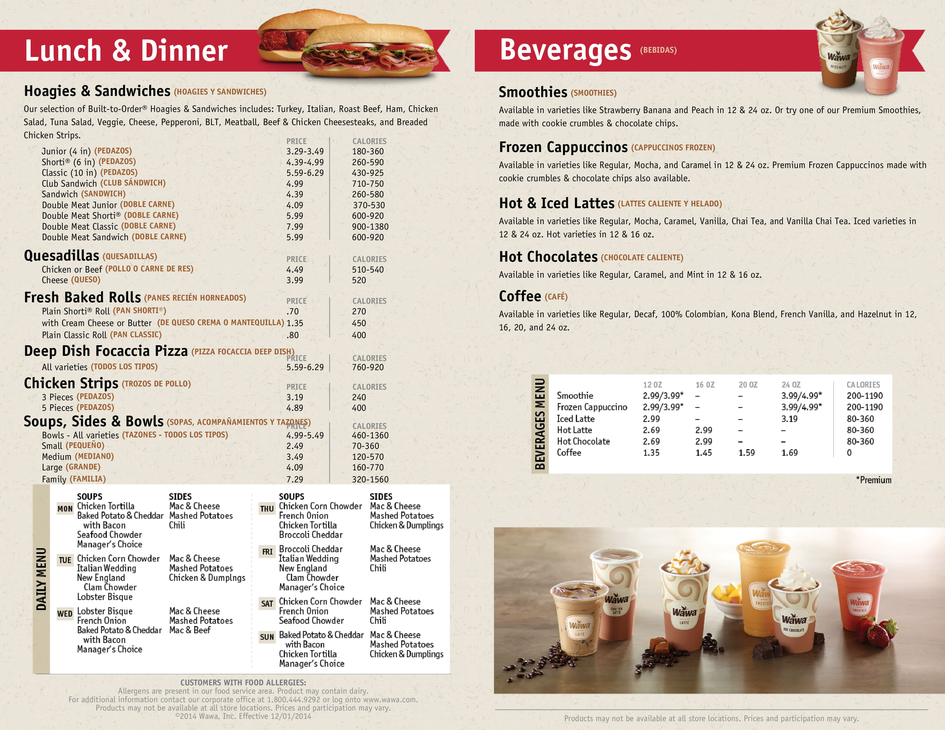 Wawa Hot Food Menu