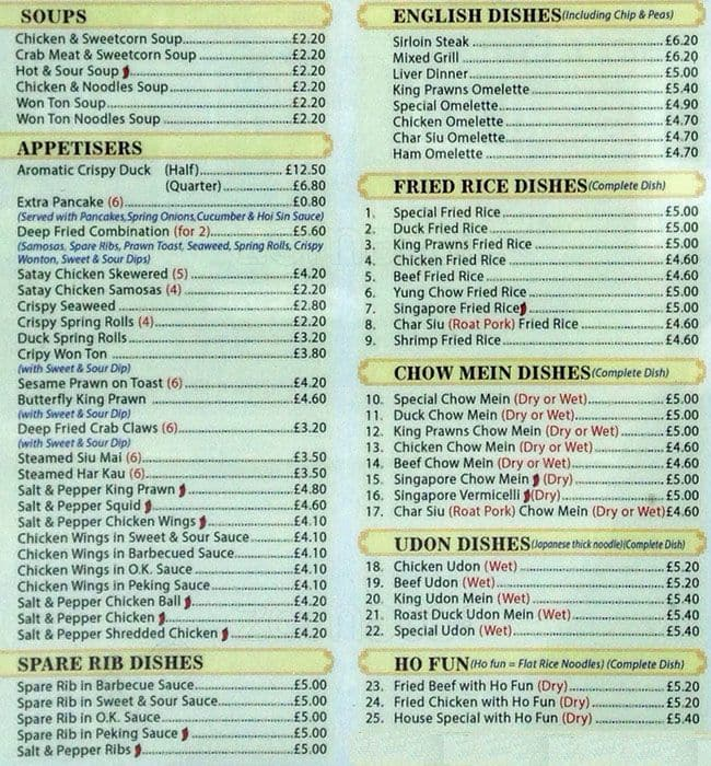 Peking Kitchen Menu Menu For Peking Kitchen Swinton