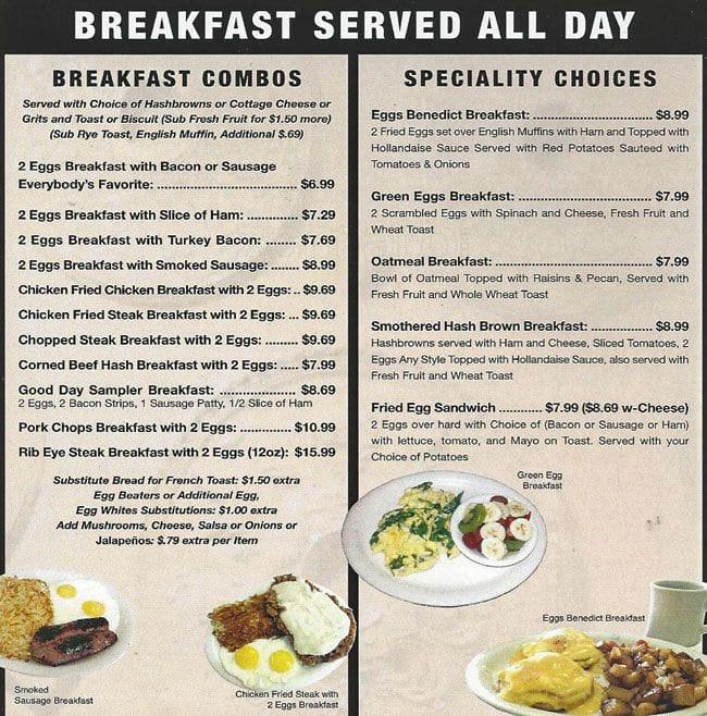 Good Day Cafe Menu Grand Prairie