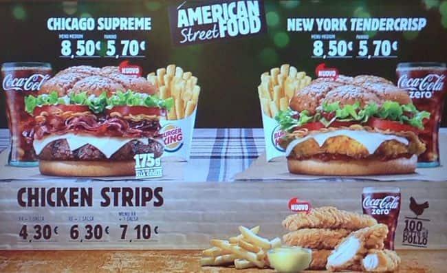 Burger King Menu, Menu for Burger King, Eur, Roma