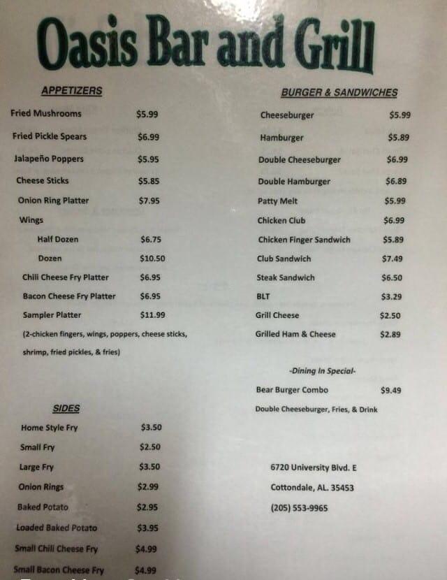Oasis bar grill menu menu for oasis bar grill for Al tannour mediterranean cuisine menu