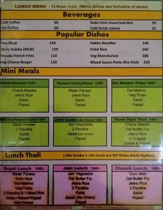 Aha Café Menu, Menu for Aha Café, Fancy Bazaar, Guwahati