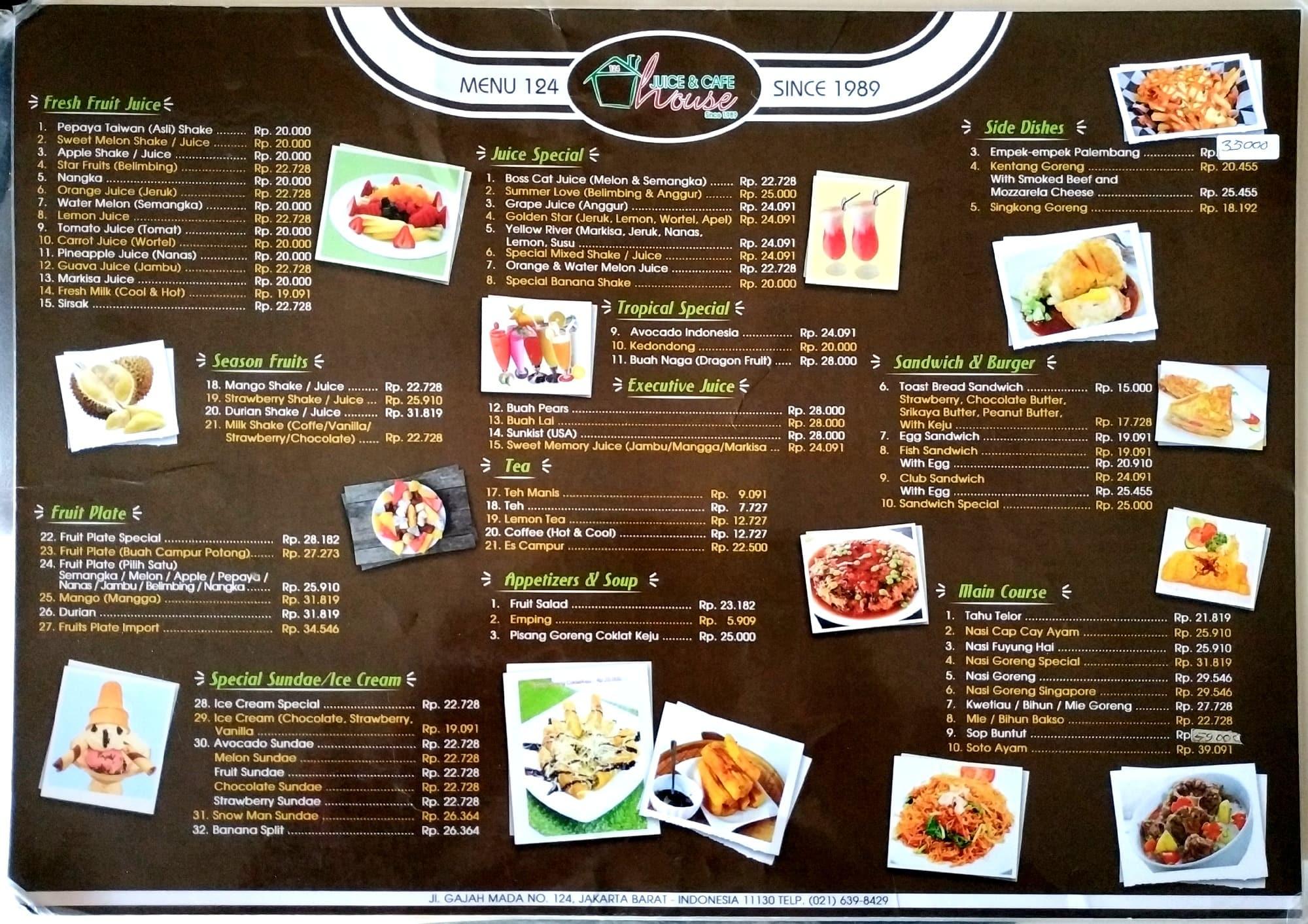 Juice And Cafe House Menu Menu Para Juice And Cafe House Gajah