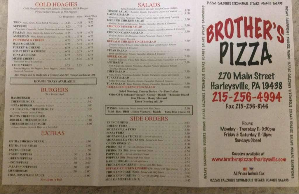 Brother S Pizza Menu Menu For Brother S Pizza Harleysville Montgomery County