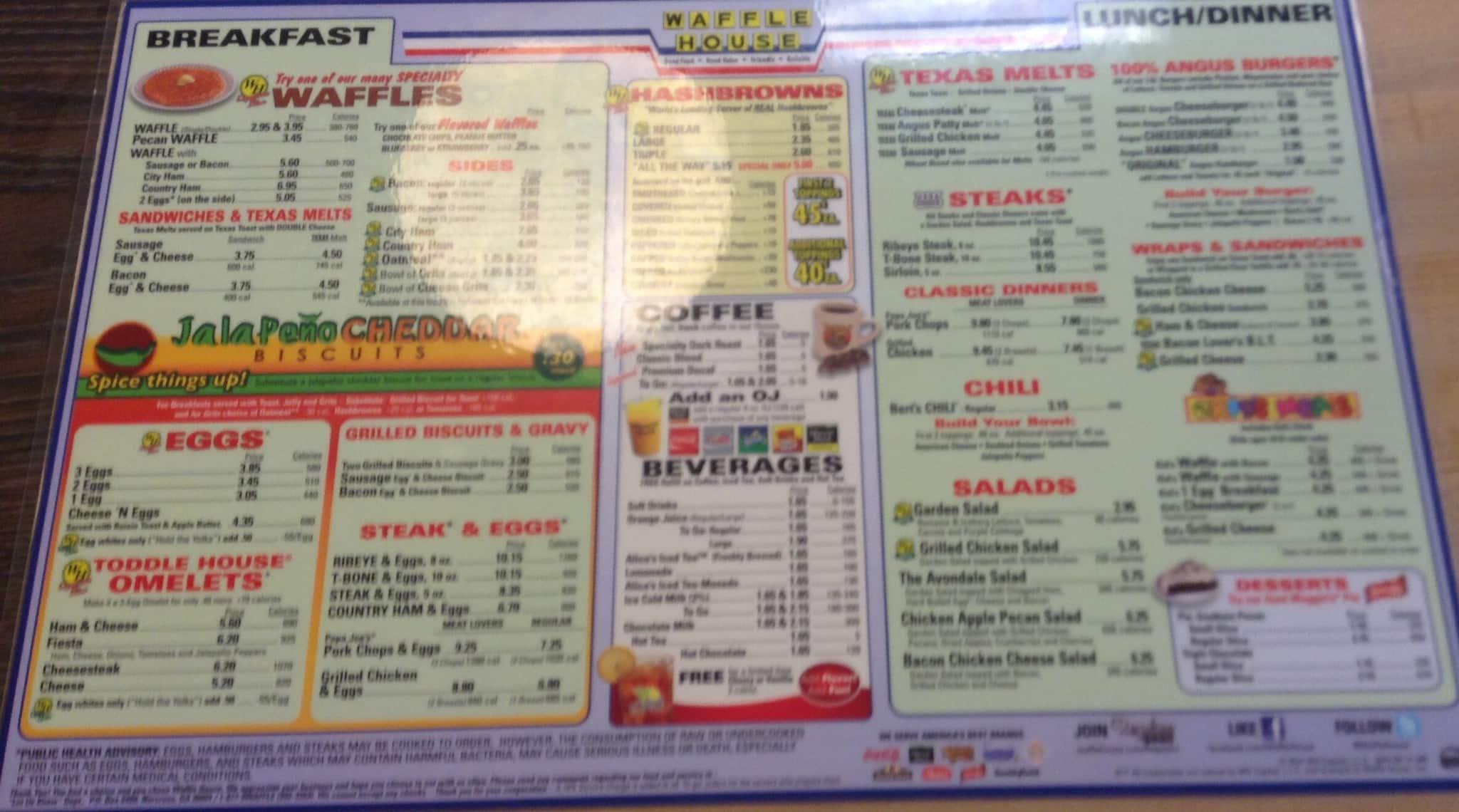 Waffle House Menu Menu for Waffle House Winston Salem Piedmont
