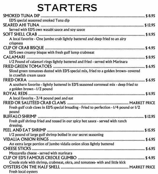Menu at ed 39 s seafood shed restaurant spanish fort for Felix s fish camp restaurant