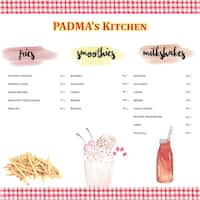Padma's Kitchen Menu, Menu for Padma's