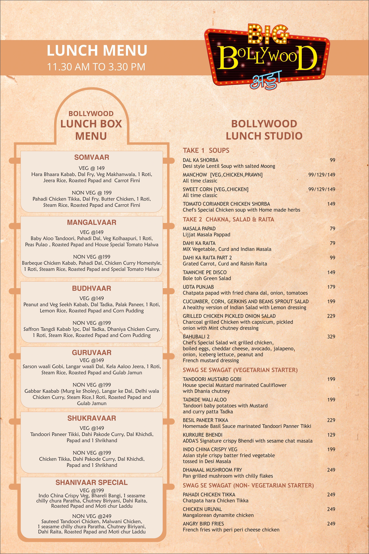 Big Bollywood Adda Menu, Menu for Big Bollywood Adda