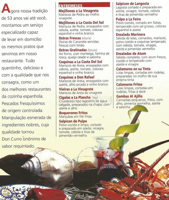 Don curro menu menu de don curro pinheiros s o paulo - O forno do curro ...