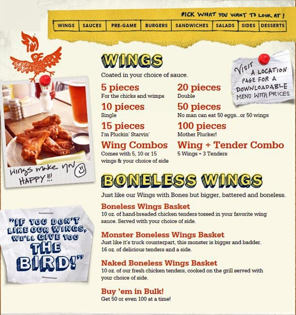 Wings Restaurant Menu Prices