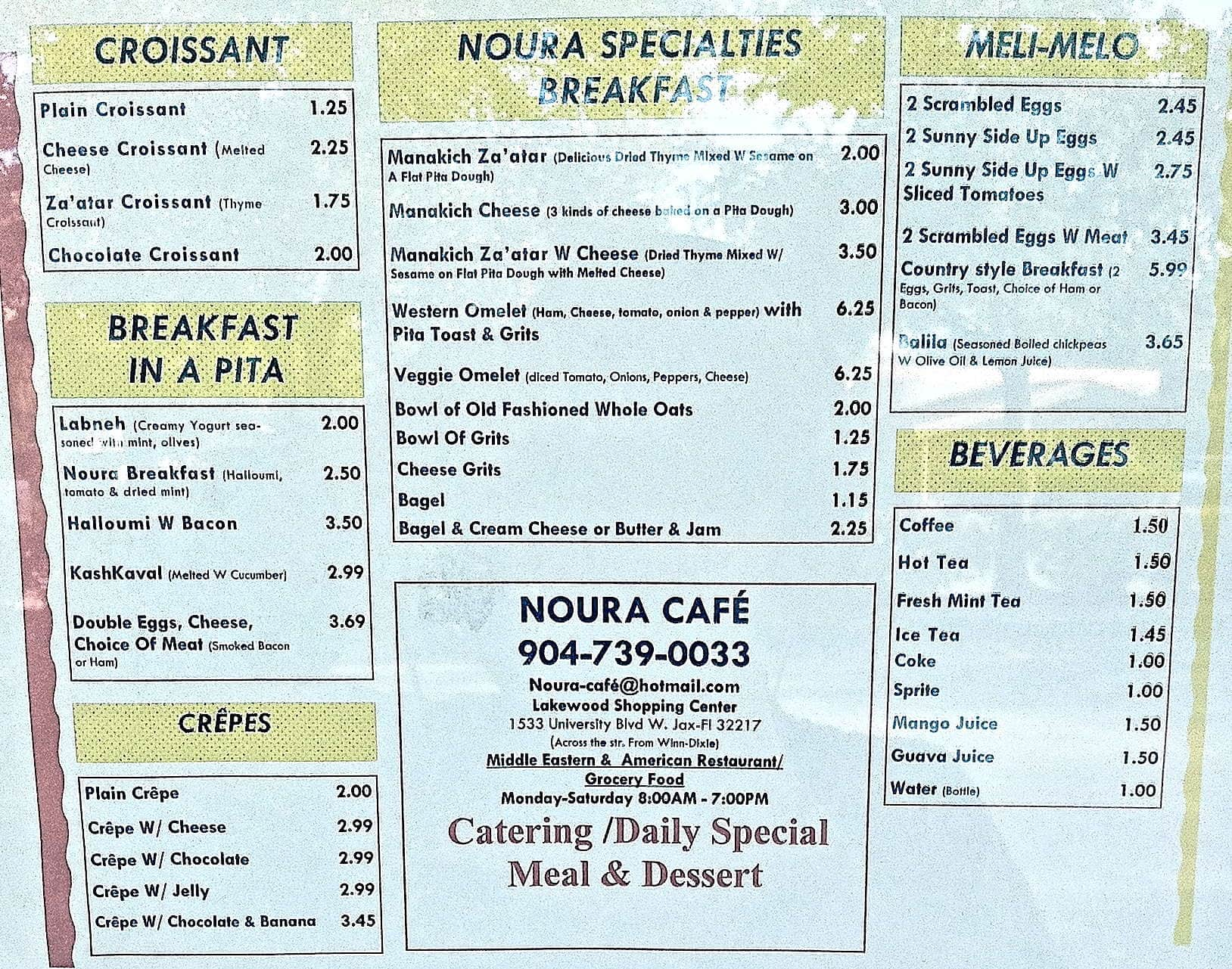 Noura Cafe Menu, Menu for Noura Cafe, Southside, Jacksonville ...