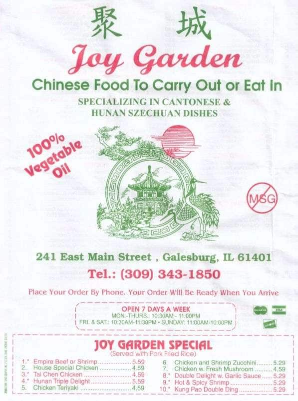 Galesburg (IL) United States  city photo : ... Menu, Menu for Joy Garden, Galesburg, Galesburg Urbanspoon/Zomato