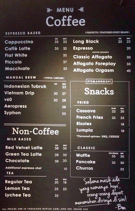 kedai filosofi kopi melawai menu