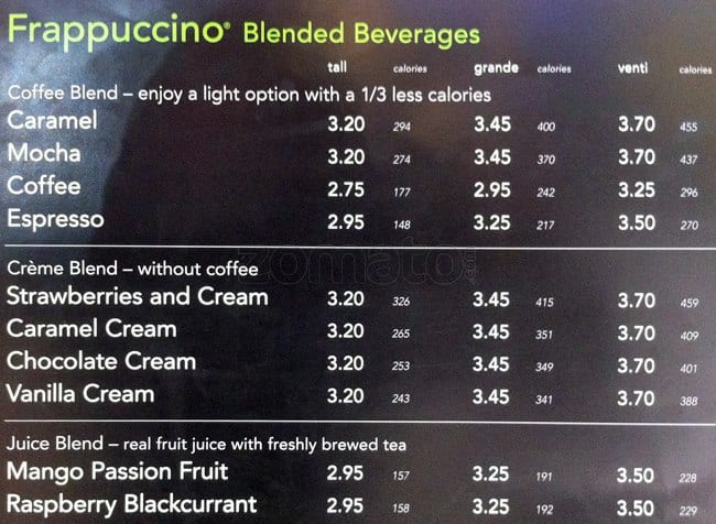 Menu At Starbucks 171 Piccadilly Restaurant Prices