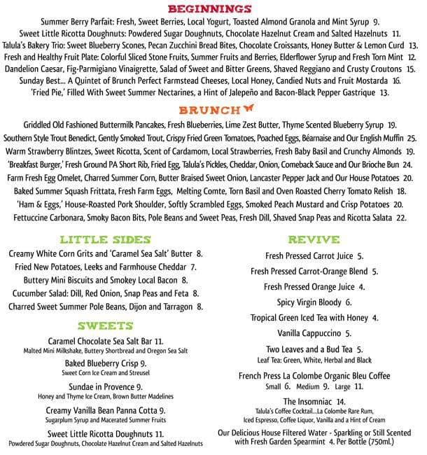talulas garden menu - Talulas Garden