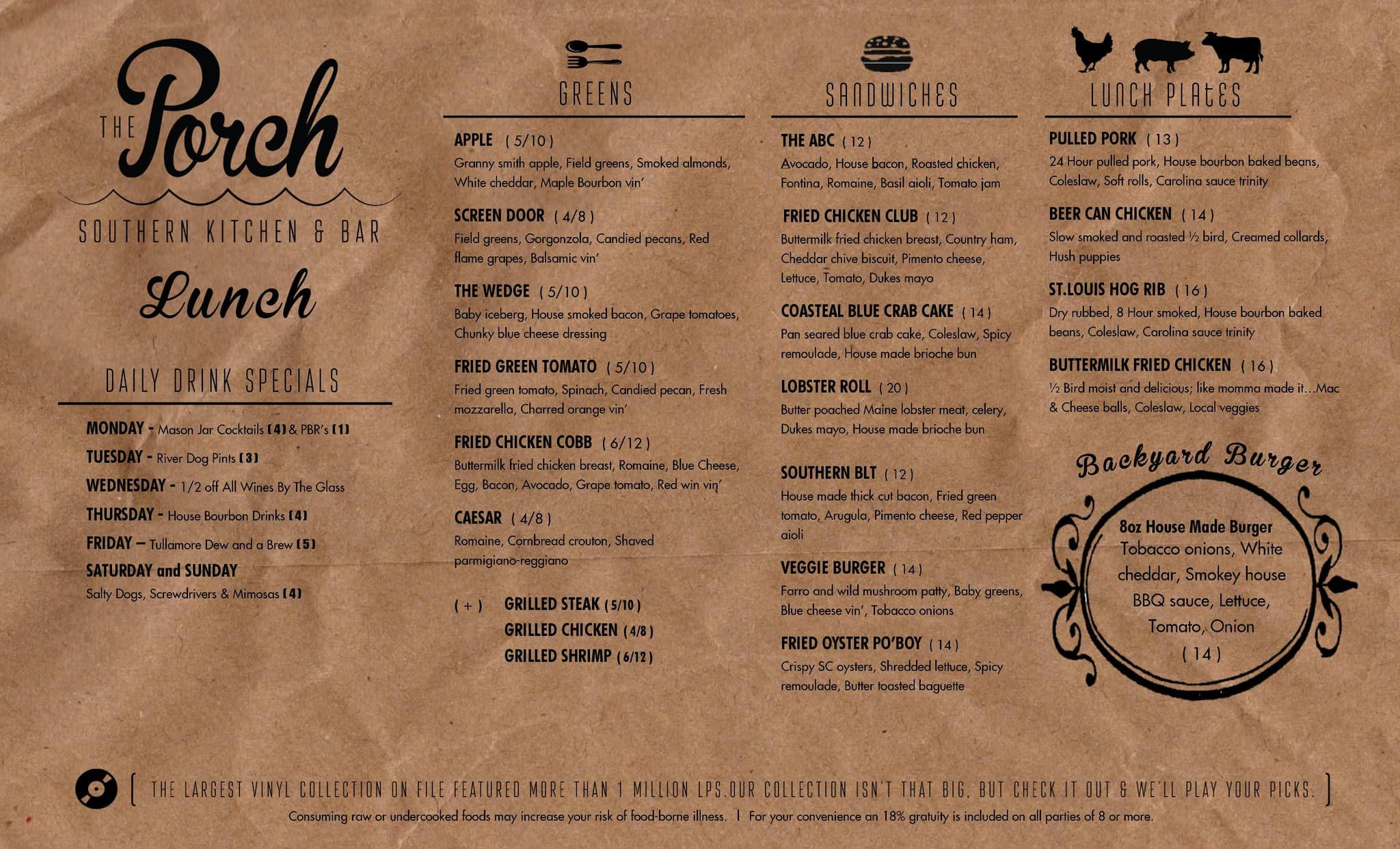 menu at the porch 1 s forest beach dr restaurant prices