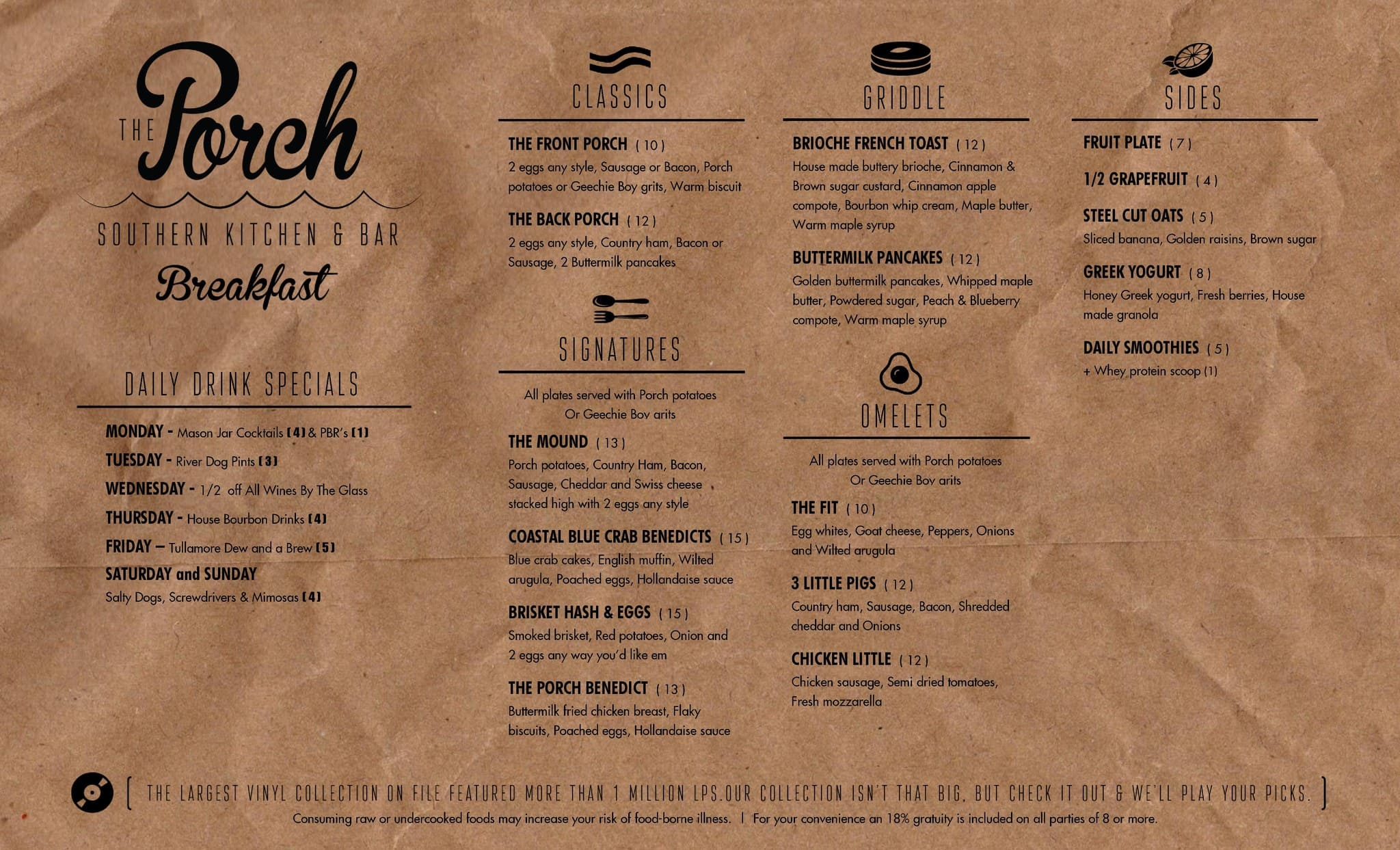 The porch kitchen bar menu urbanspoon zomato for Kitchen 919 knoxville tn menu