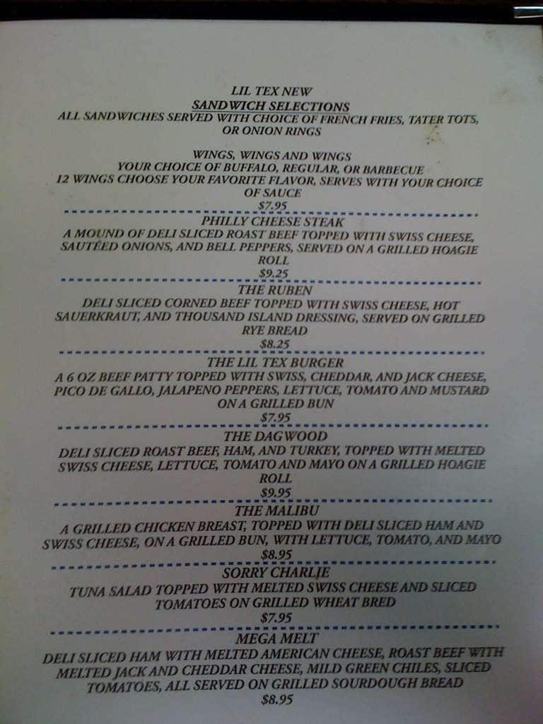 Lil Tex Restaurant Menu Menu For Lil Tex Restaurant Copperas Cove
