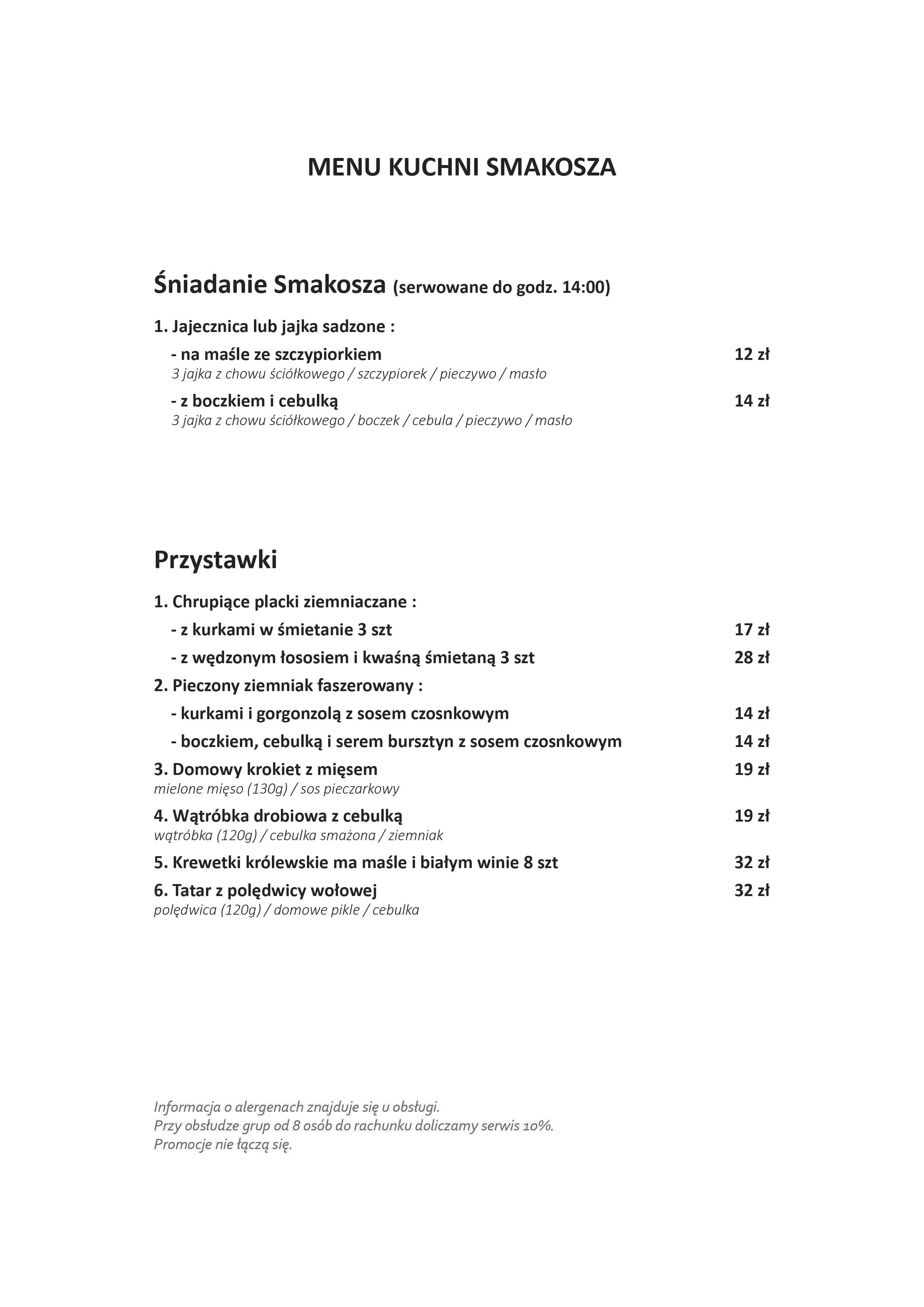 Kuchnia Smakosza Menu Menu Restauracji Kuchnia Smakosza Brodno Warszawa