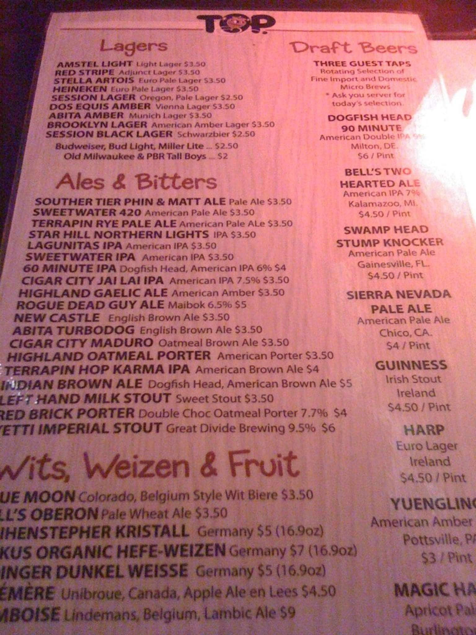 The Top Gainesville Menu Drinks