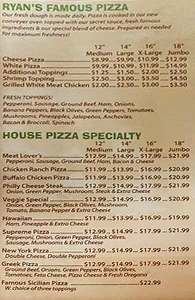 Ryans Famous Pizza Subs Beaufort Menu