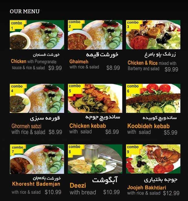Menu Restaurant Kebab