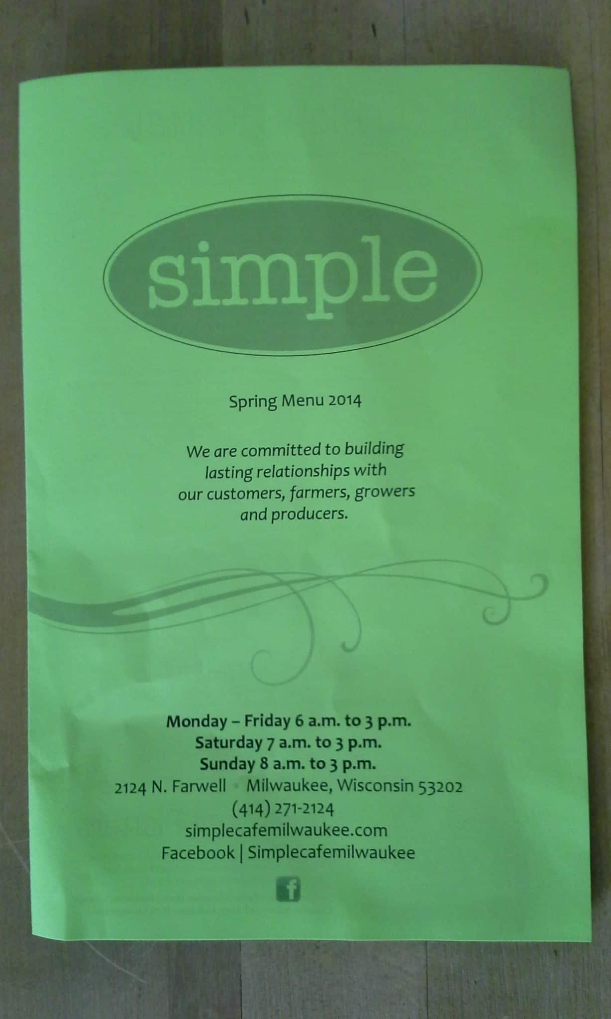 simple cafe menu, menu for simple cafe, east side, milwaukee
