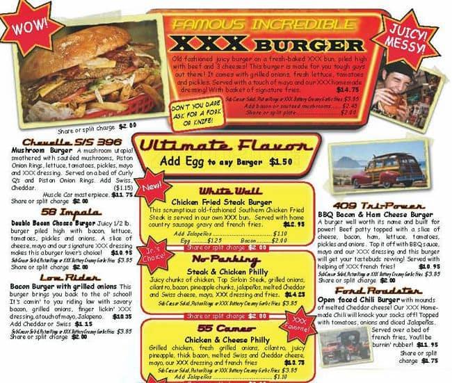 xxx root beer drive in menu menu for xxx root beer drive in