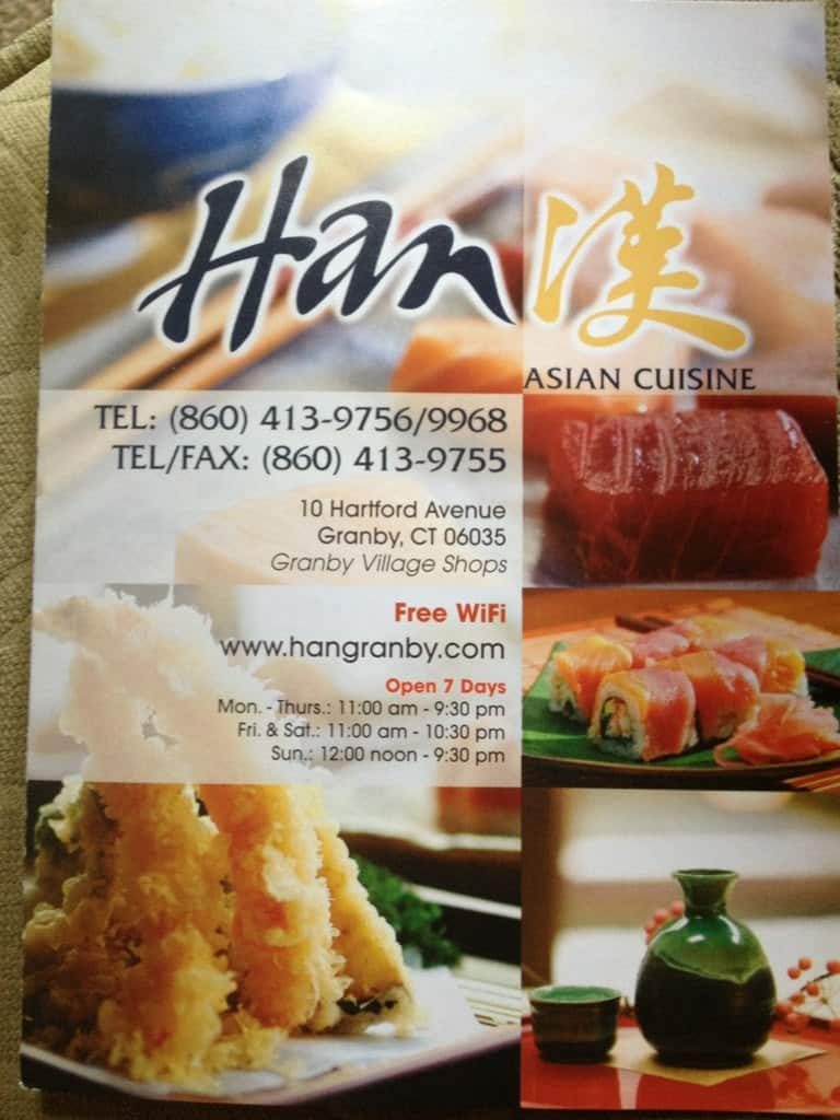 Han Menu Menu For Han Granby Hartford Urbanspoonzomato