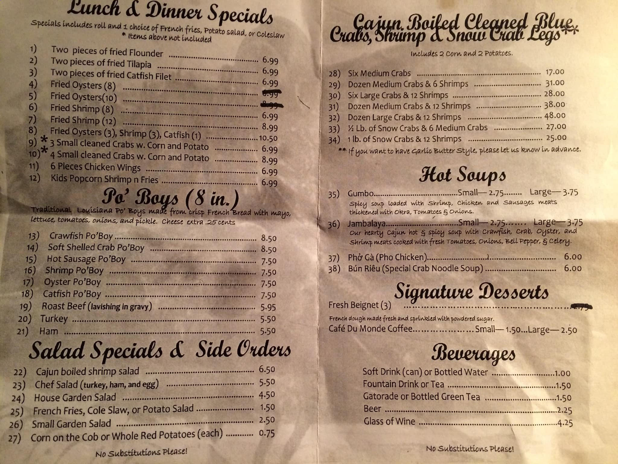 Menu at New Orleans Cajun Seafood restaurant, Orlando, W Colonial Dr