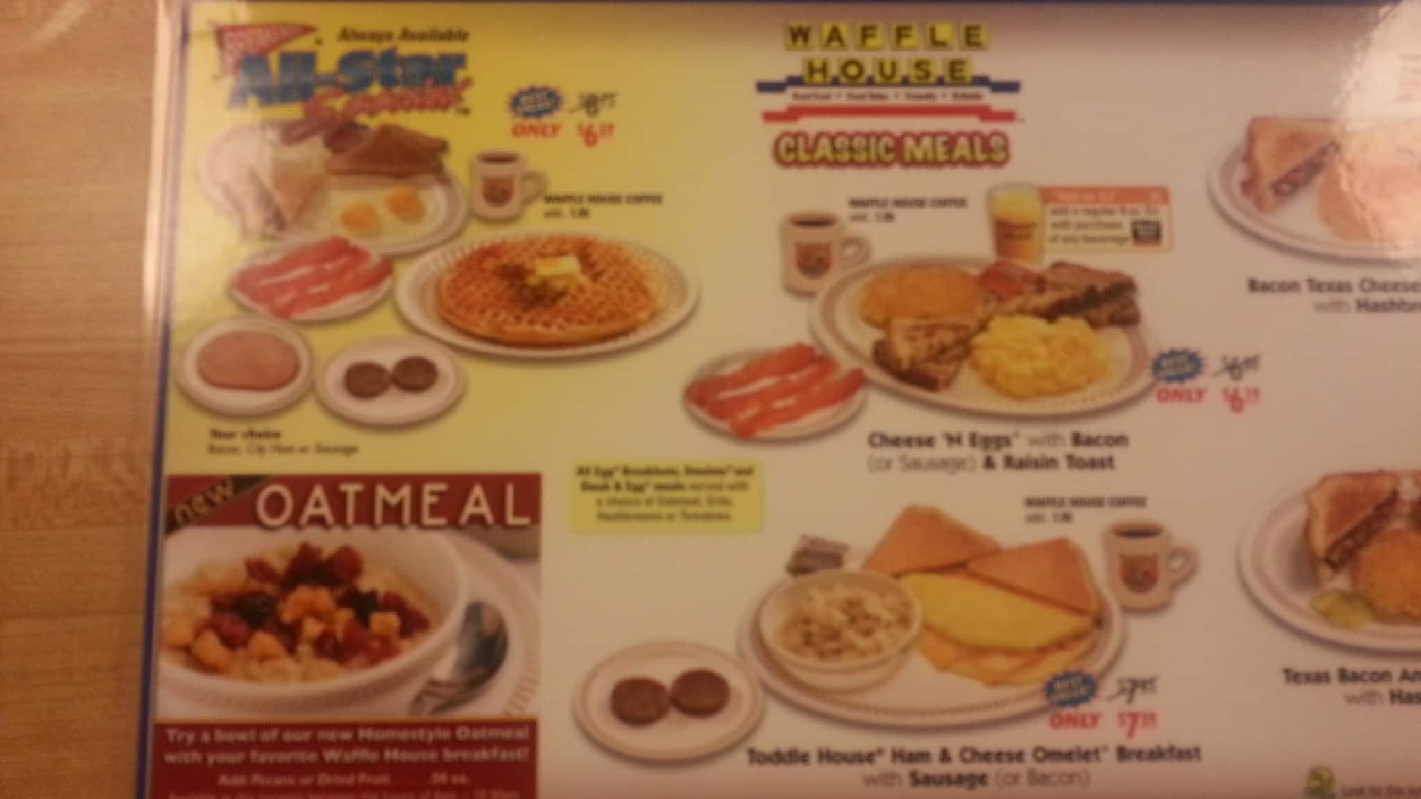 Waffle House Menu Menu for Waffle House Quail Springs Oklahoma