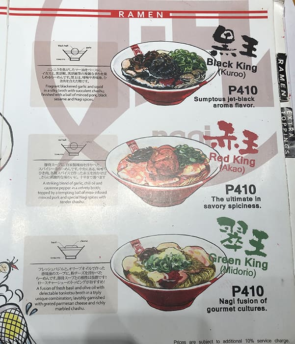 Ramen Nagi Menu, Menu for Ramen Nagi, Bonifacio Global City