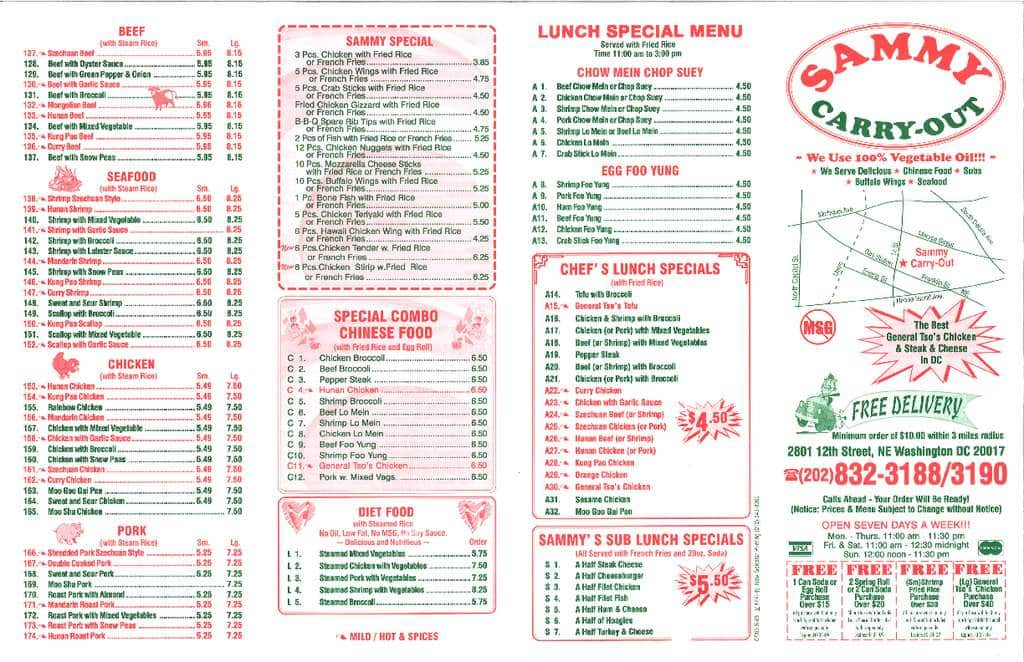 Sammy carry out menu menu for sammy carry out brookland for Take out menu