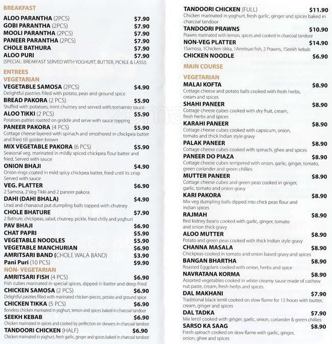Chahat Restaurant Adelaide Menu