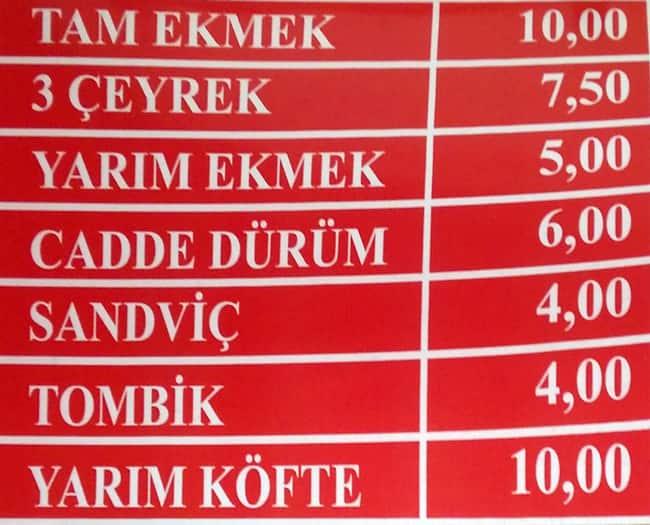 Cadde Döner Köfte Menü Zomato Türkiye